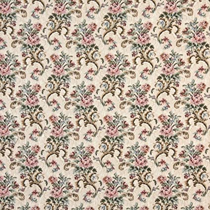 Amazon Com H858 Pink Beige And Green Floral Tapestry Upholstery