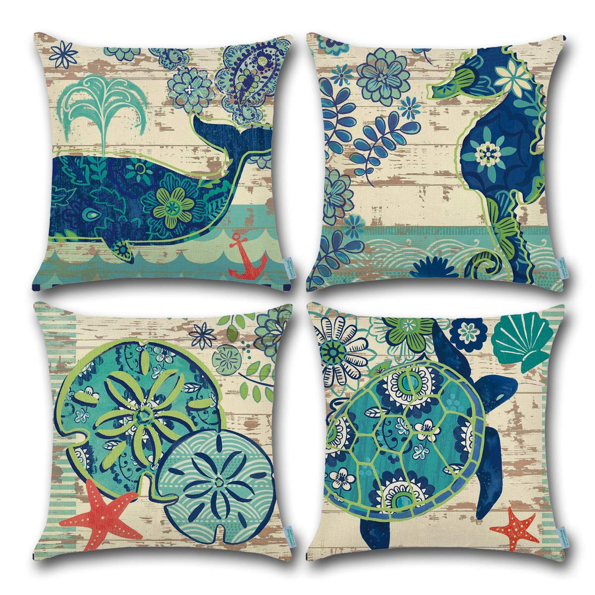 CARRIE HOME Ocean Nautical Theme Decor Turtle/Lotus Leaf/Seahorse/Whale Outdoor Decorative Throw Pillow Case Cushion Covers 18 x 18 Inch, 4 Pack