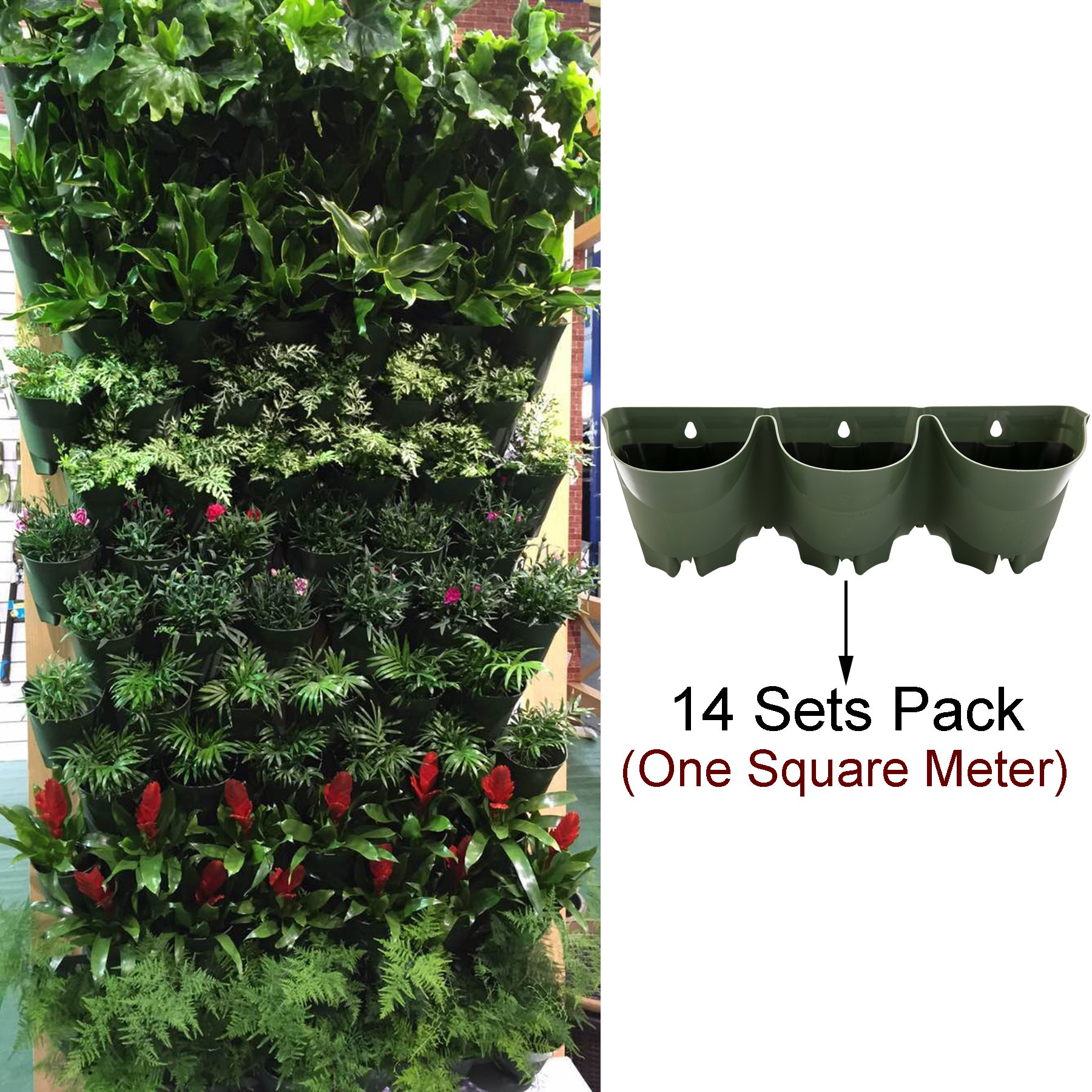 Sungmor 1 Square Meter Erea Vertical Hanging Living Wall Planter,Worth Gardening 3 Pocket with 3 Liner Self Watering Flower Pot,Indoor and Outdoor Decoration(14 Sets Pack) by Sungmor