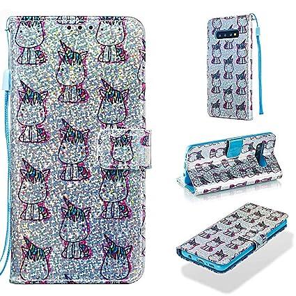 Case for Galaxy S10,Durable Slim Wallet Case Bling Glitter PU Leather Wallet Case Card Holder Shock Absorbent Wrist Strap Kickstand Flip Folio Case ...