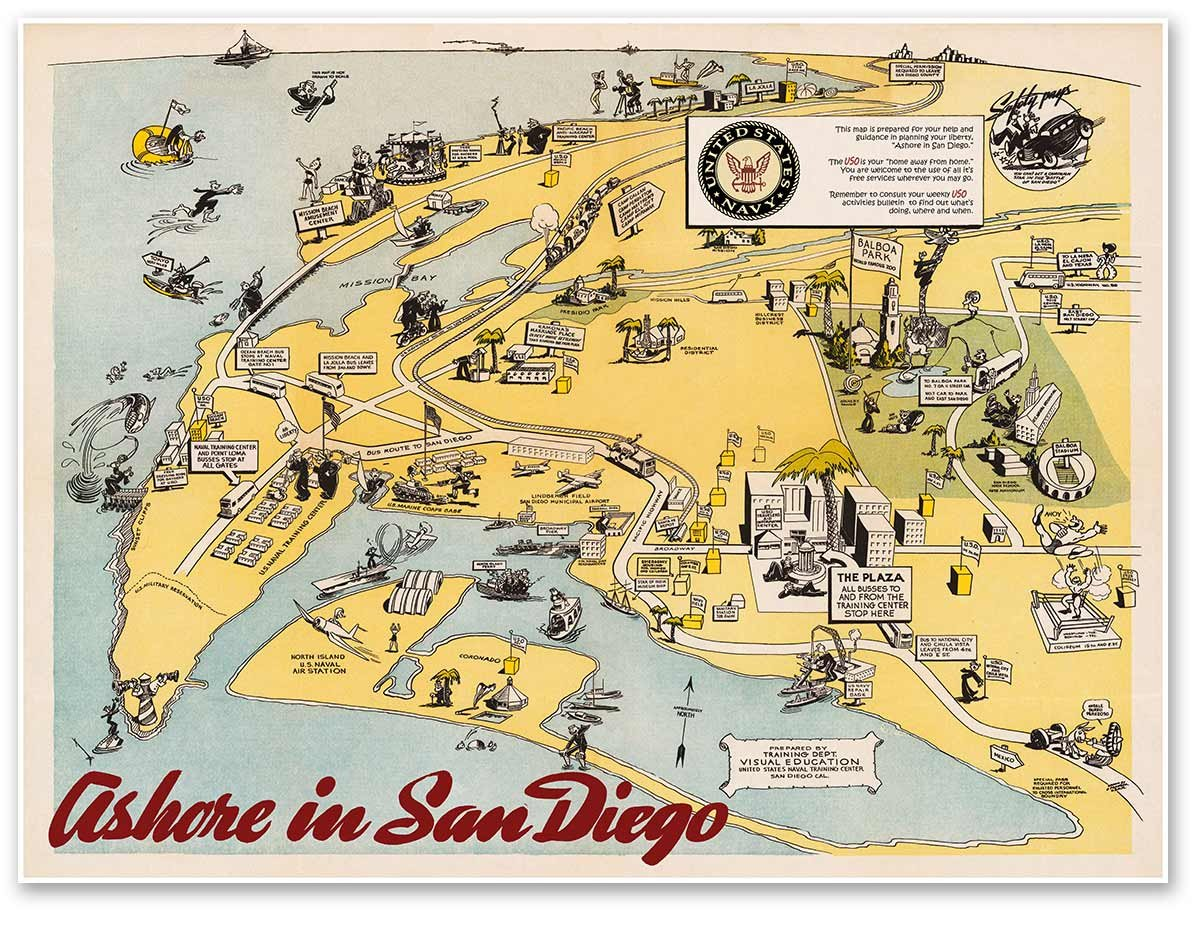 Naval Station San Diego Map.Amazon Com Naval Training Center In San Diego California Map Circa