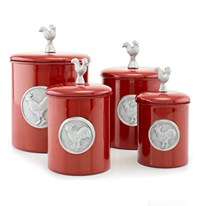 Amazon Com Old Dutch 4 Piece Rooster Canister Set Red Kitchen