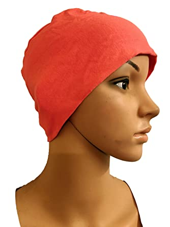 PEACH COTTON CAPS CHEMO BEANIES CANCER CAPS WOMEN SUMMER CHEMO CAPS SLEEP  TURBAN FOR WOMEN UNDERSCARF 1c0aefae8298