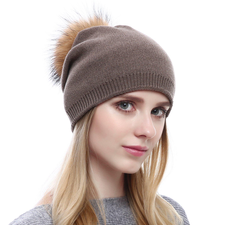 Women Knit Wool Beanie - Winter Solid Cashmere Ski Hats Real Raccoon Fur Pom Pom One Size QFHR1702BEI