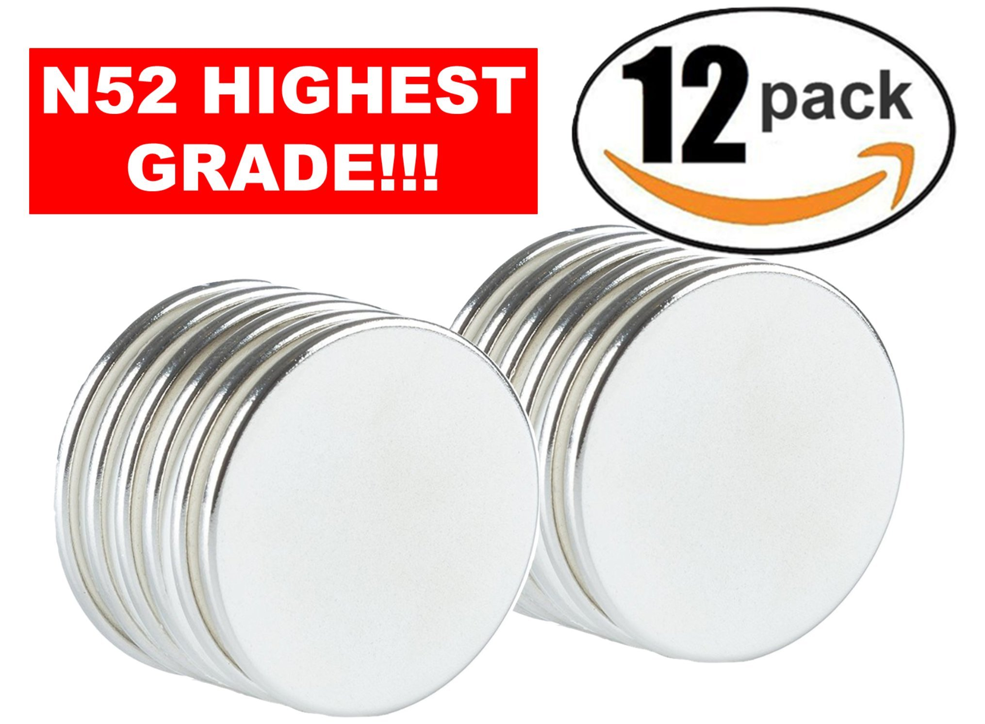 Strong Magnets Neodymium Rare Earth: N52 Disc Super Permanent Metal Round, 1.26''DX0.06''H, Powerful Pull Force, 12 Piece | Heavy Duty, Fridge Door, Garage, Kitchen, Science, Craft, Art, Office, Therapy