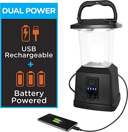 Enbrighten LED Rechargeable Lantern, 11 , USB Power Bank, 4400mAh, 650 Lumens, Dimmable, 405 Hours of Run Time, Ideal for Camping, Outdoor, Emergency Weather, Storms, Black, 43934