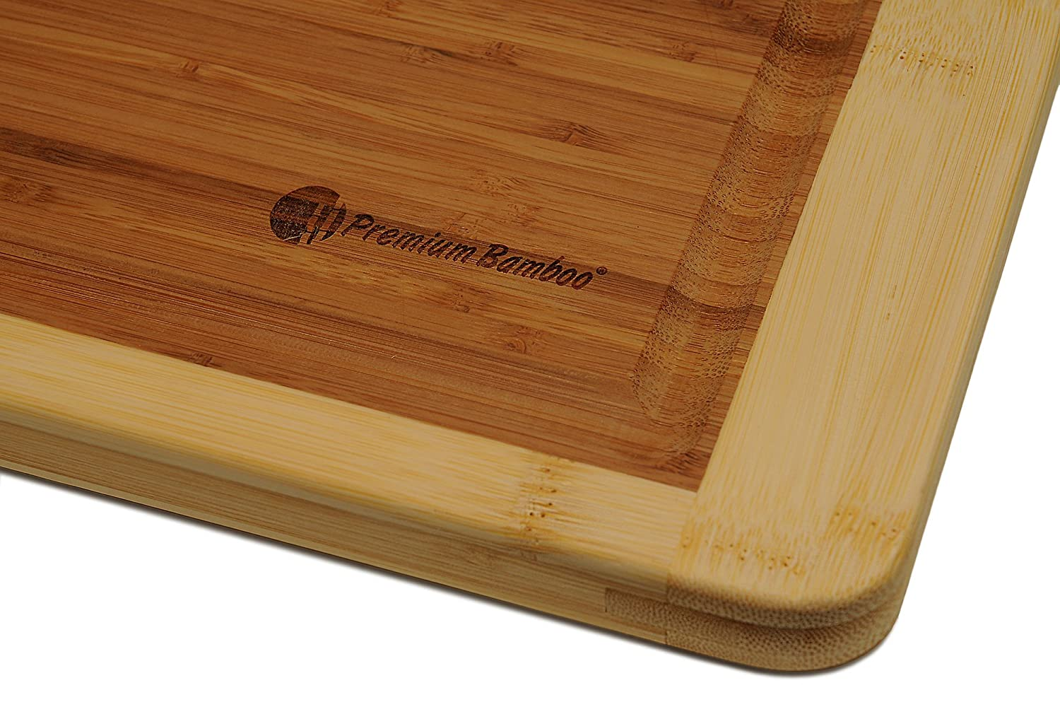 Premium Lifestyle Products COMIN18JU053076 Curved Large and Strong Chopping Board Measures 18x12 inches Thick Bamboo Cutting Board with Deep Edge Juice Drip Groove Made from Natural and Eco-friendly Bamboo Wood