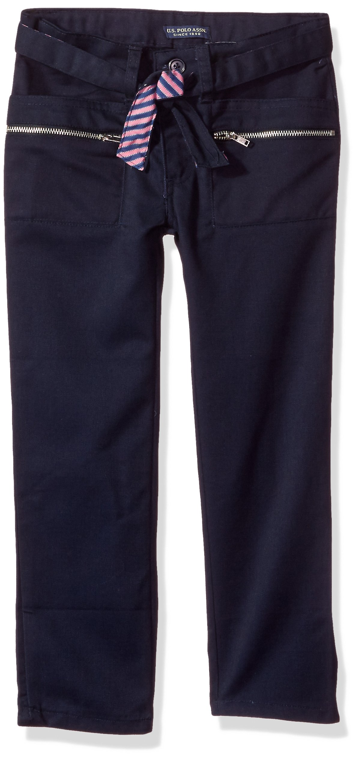U.S. Polo Assn. Big Girls' Twill Pant (More Styles Available), Navy-IHVDH, 10