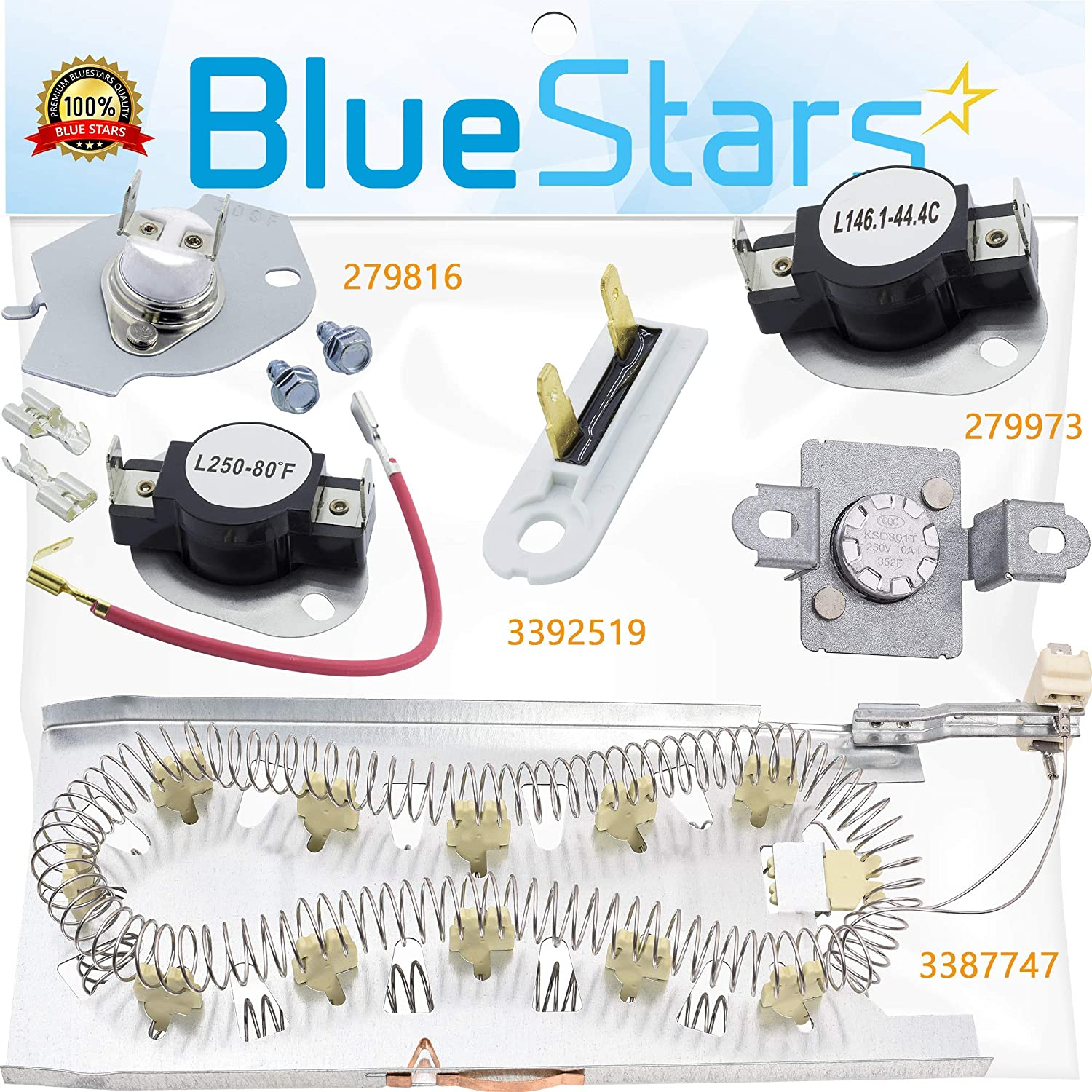 NEW 3387747 Dryer Heating Element & 279816 Thermostat & 279973 3392519 Thermal cut-off Fuse Kit Replacement by Blue Stars - Exact Fit for Kenmore Whirlpool KitchenAid Dryers