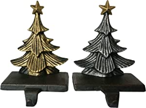 Lulu Decor, Cast Iron Christmas Tree Stocking Holders, Sold in Set of 2 Trees in Metallic Gold and Silver Finish, Beautiful, Heavy, Sturdy Stocking Hooks (Color Trees)
