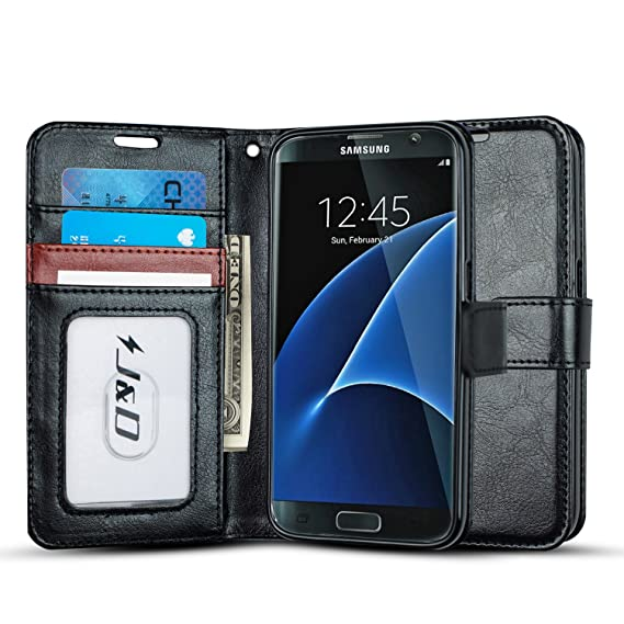 more photos 30d38 836a0 J&D Case Compatible for Galaxy S7 Case, [Wallet Stand] [Slim Fit] Heavy  Duty Protective Shock Resistant Flip Cover Wallet Case for Samsung Galaxy  S7 ...