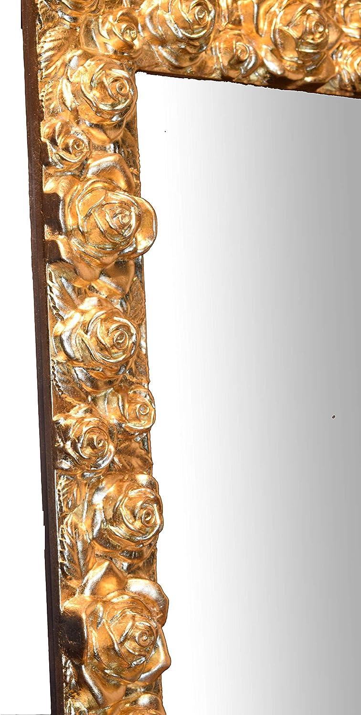 Fabriqu/é en Italie M/ésure cm 62x82 Vertical et Horizontal Miroir Mural avec Cadre en Bois Fini /à la Main avec Feuille dor
