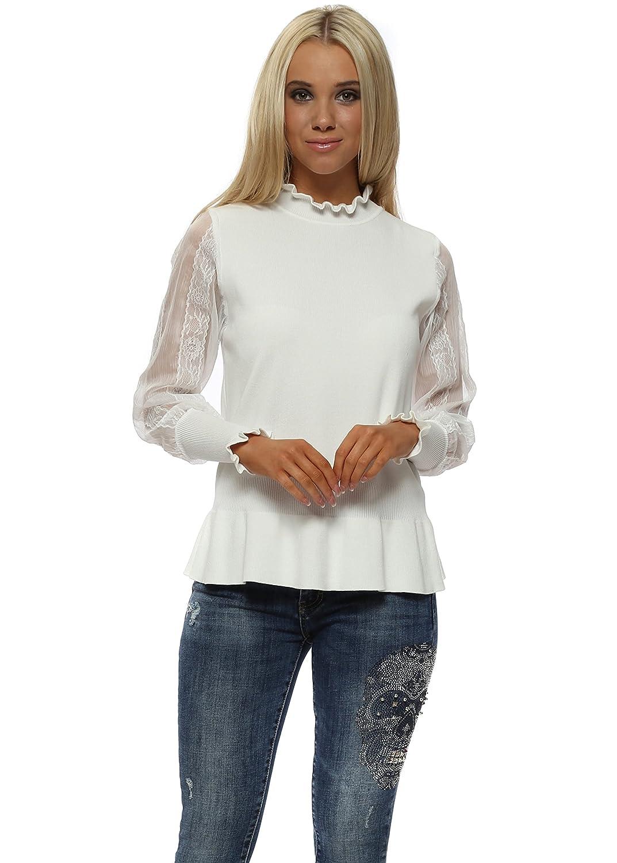 019d608fafb1 Laetitia mem white lace sleeve peplum jumper one size white clothing jpg  1073x1500 Plus size peplum