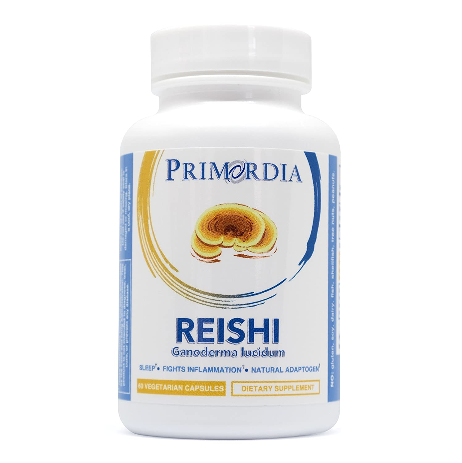 Primordia Reishi Mushroom Capsules Promotes Calm and Restful Sleep, Anti-Aging, Fights Inflammation Non-GMO, Allergen Free, Pure Reishi Mushroom Ganoderma lucidum 60ct.