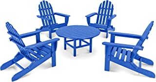 product image for POLYWOOD PWS119-1-PB Classic Adirondack 5-Piece Conversation Set, Pacific Blue