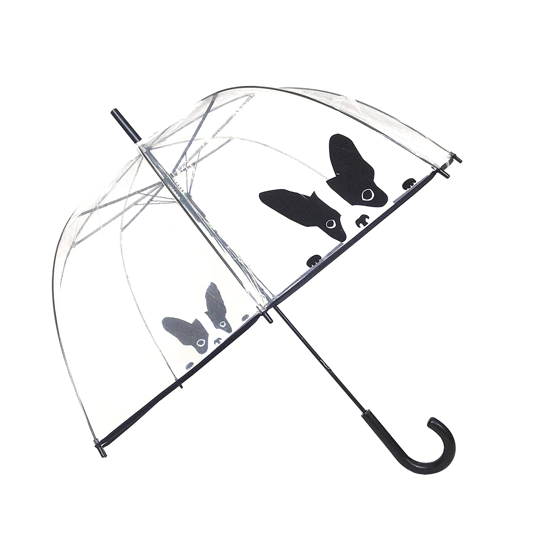 SMATI transparenter Automatik-Stockschirm Glockenform mit Hund - Regenschirm Damen BUL1492