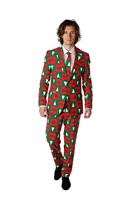 OppoSuits Disfraz Hombres Traje de Treemendous Navidad (UK ...
