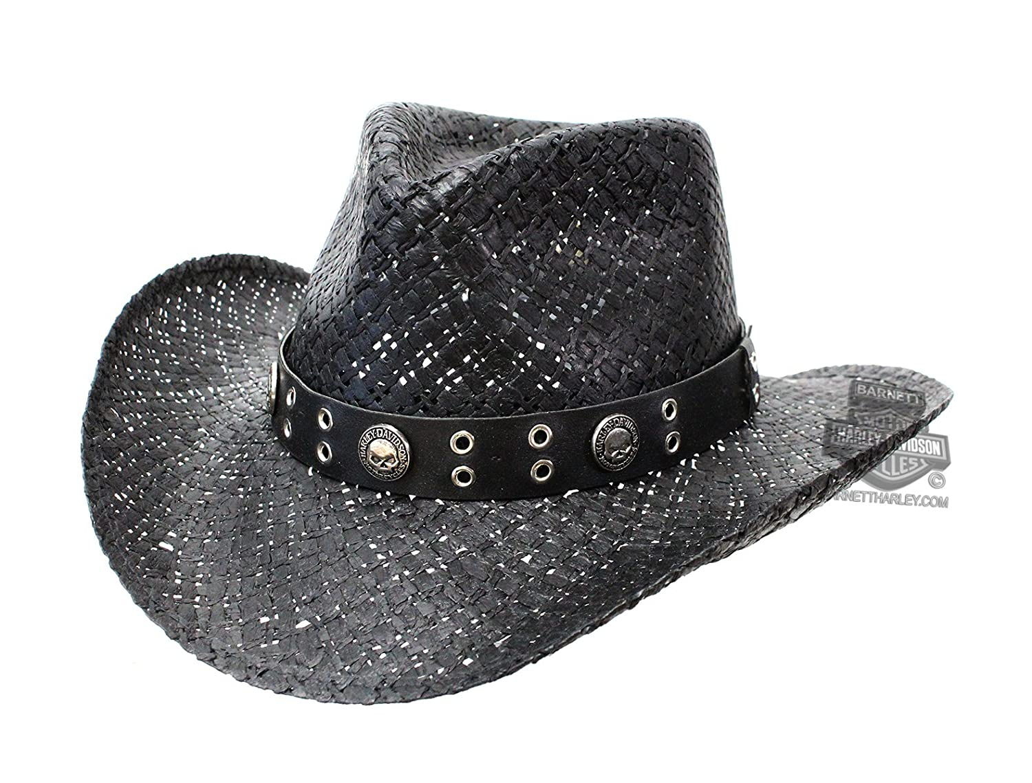 Harley-Davidson Mens Willie G Skull Leatherette Band HD-742 Black Straw Hat