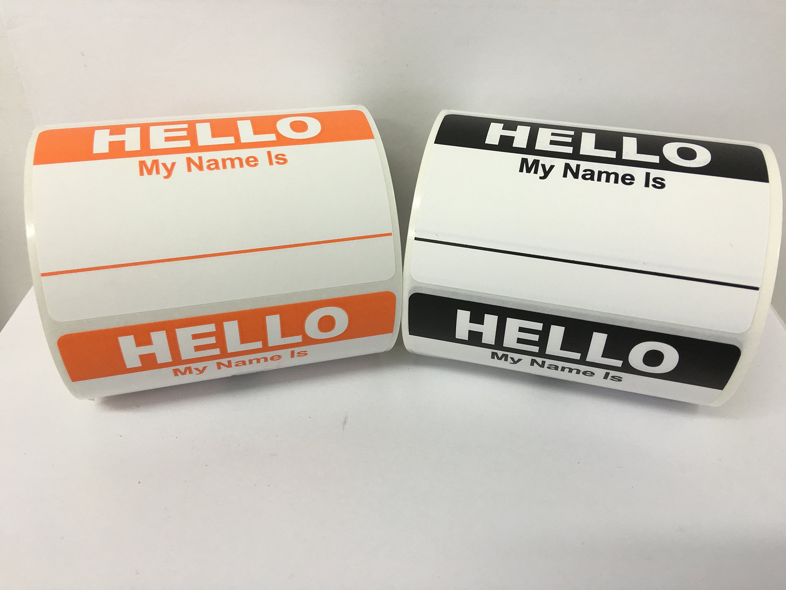 "500 Labels 3-1/2"" x 2-3/8"" Hello My Name Is Name Tag Identification Stickers (250 BLACK/250 ORANGE)"