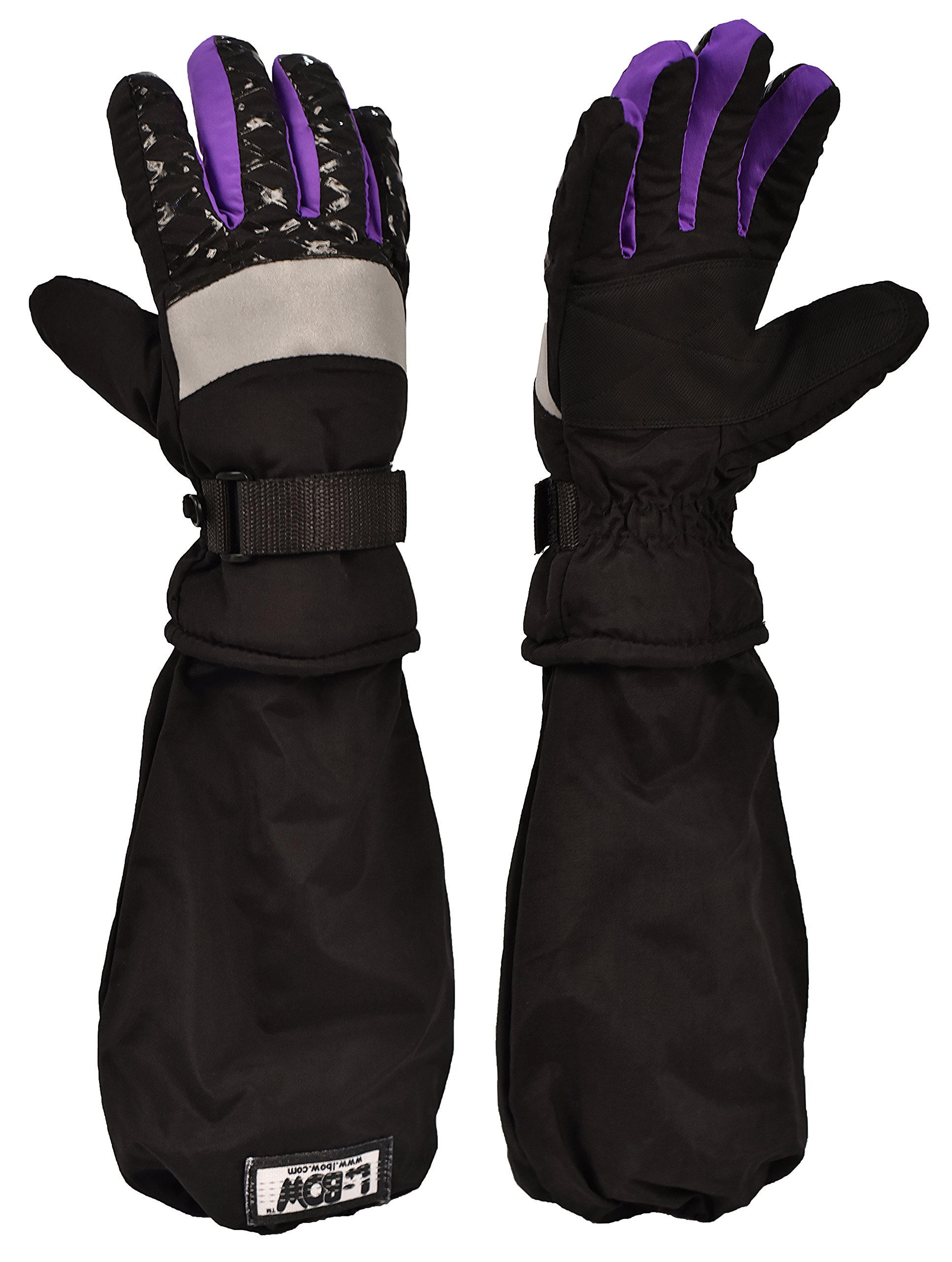 Girl's Touch Tip Technology Waterproof 3M Thinsulate L-Bow Glove (X-Large, Black/Purple)