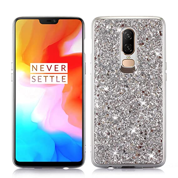 the latest 6b06f e9597 Amazon.com: Bling Glitter Case for OnePlus 6, CASE4YOU Soft TPU ...