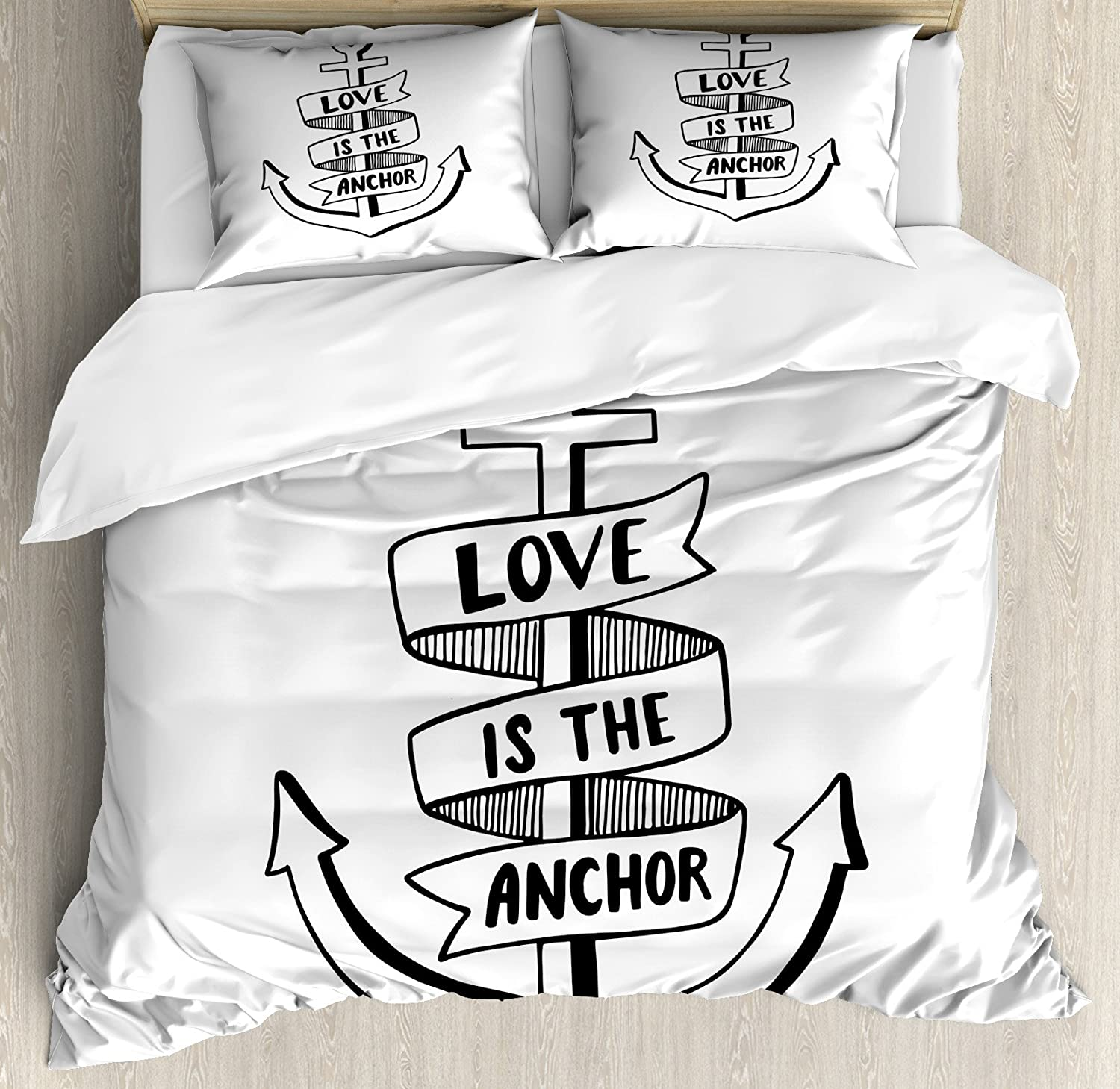 Ambesonne Anchor Duvet Cover Set, Hand Drawn Monochrome Nautical Motifs with Love is The Anchor Words and Heart, Decorative 3 Piece Bedding Set with 2 Pillow Shams, Queen Size, White Black