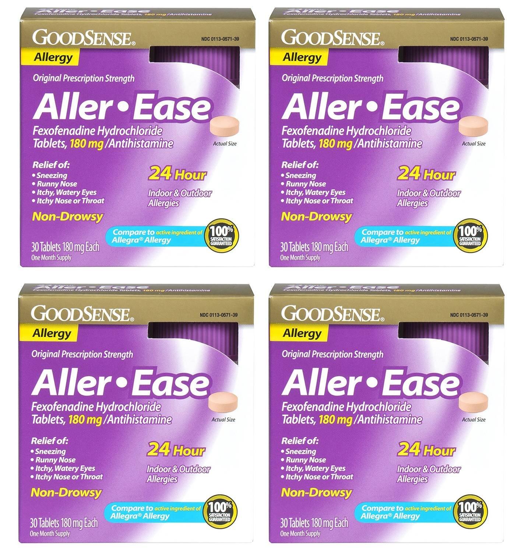 GoodSense Aller-Ease VJeRY Fexofenadine Hydrochloride Tablets, 180 mg/Antihistamine, 30 Count (4 Pack)