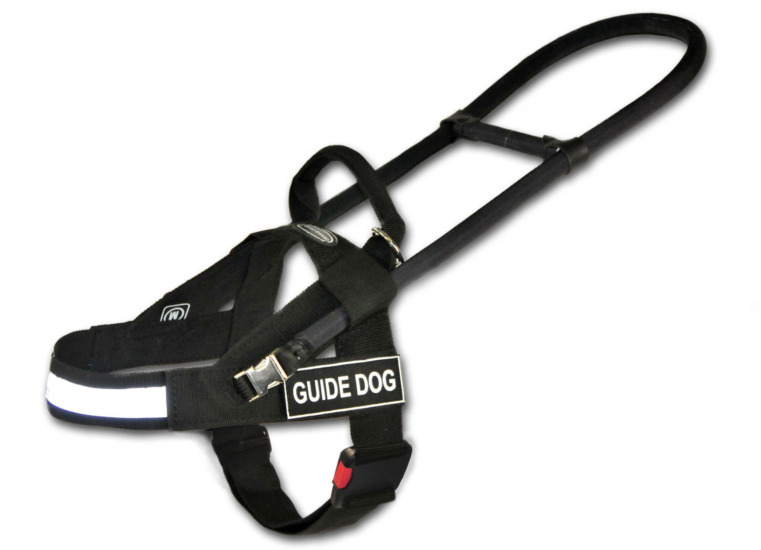 Dean and Tyler Guide Light Nickel Hardware Nylon Dog Harness, Black/Reflective, Medium - Fits Girth: 29-Inch to 39-Inch, Chest Size: 22-Inch Max