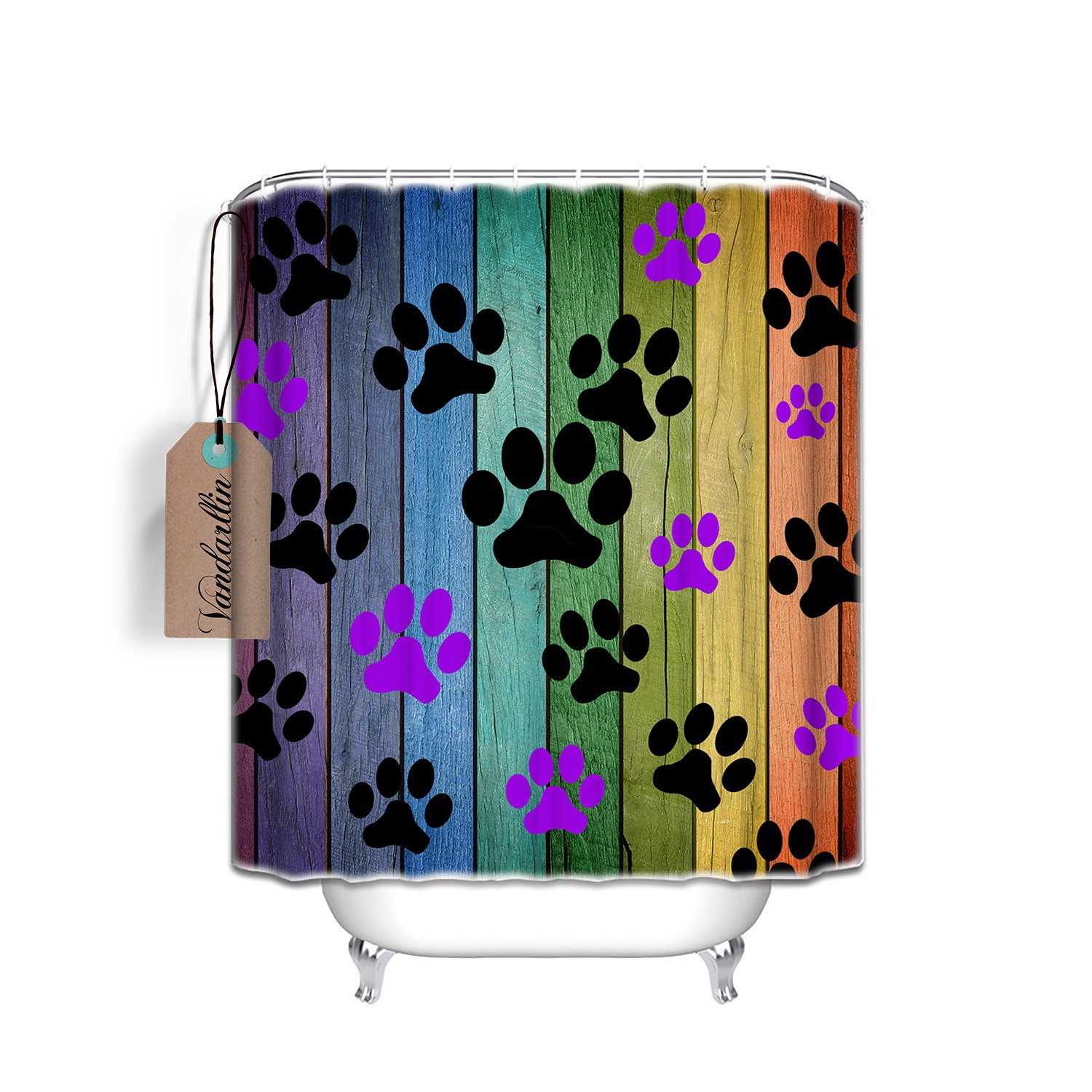 """Vandarllin Dog Paw Prints Rustic Old Barn Wood Bathroom Shower Curtain Set with Hooks 66""""x72"""", Waterproof Fabric Polyester, Multi Color Home Decoration"""