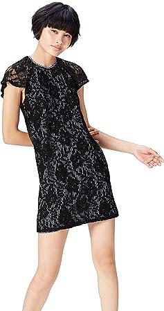 Marca Amazon - find. Vestido Corto Evasé de Encaje Mujer