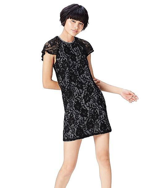 FIND 13685 vestidos mujer, Negro (Black/white Check), 36 (Talla