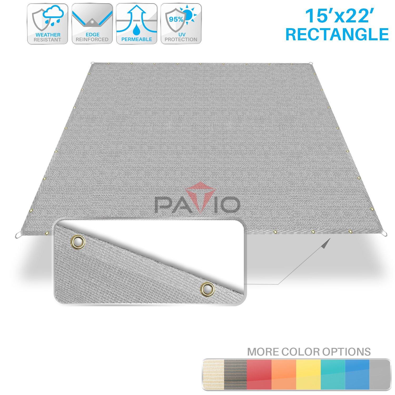 Patio Paradise 15' x 22' Straight Edge Sun Shade Sail, Light Grey Rectangle Outdoor Shade Cloth Pergola Cover UV Block Fabric - Custom Size Available - 3 Year Warrenty
