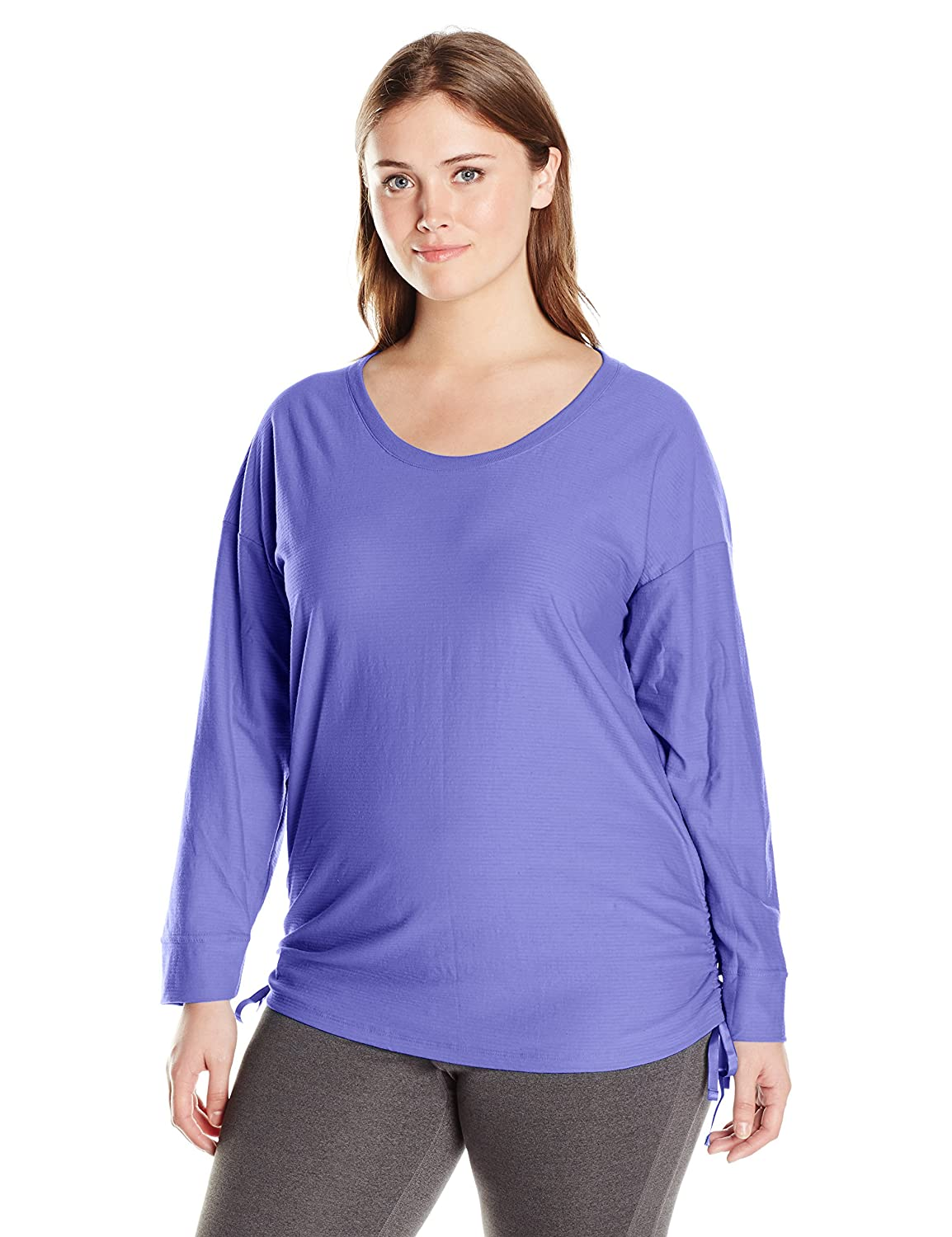 Just My Size Women's Plus-Size Shadow Stripe Tunic with Side Ties Just My Size Activewear OJ355-1