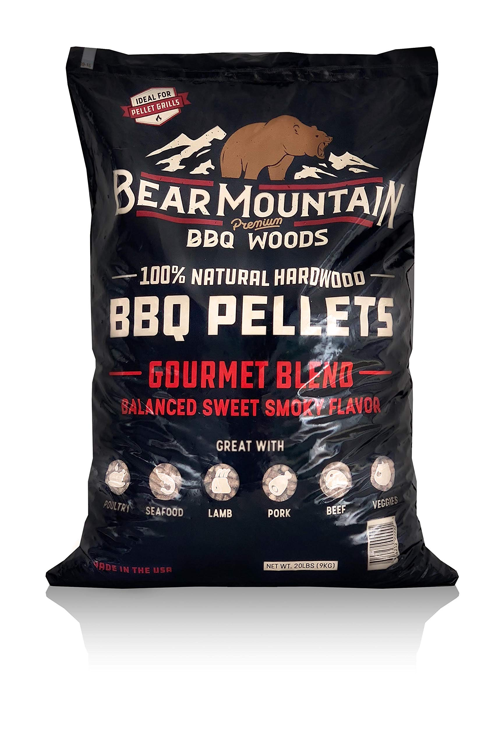 Bear Mountain BBQ 100% All-Natural Hardwood Pellets - Gourmet Blend (20 lb. Bag) Perfect for Pellet Smokers, or Any Outdoor Grill | Rich, Smoky Wood-Fired Flavor by Bear Mountain BBQ