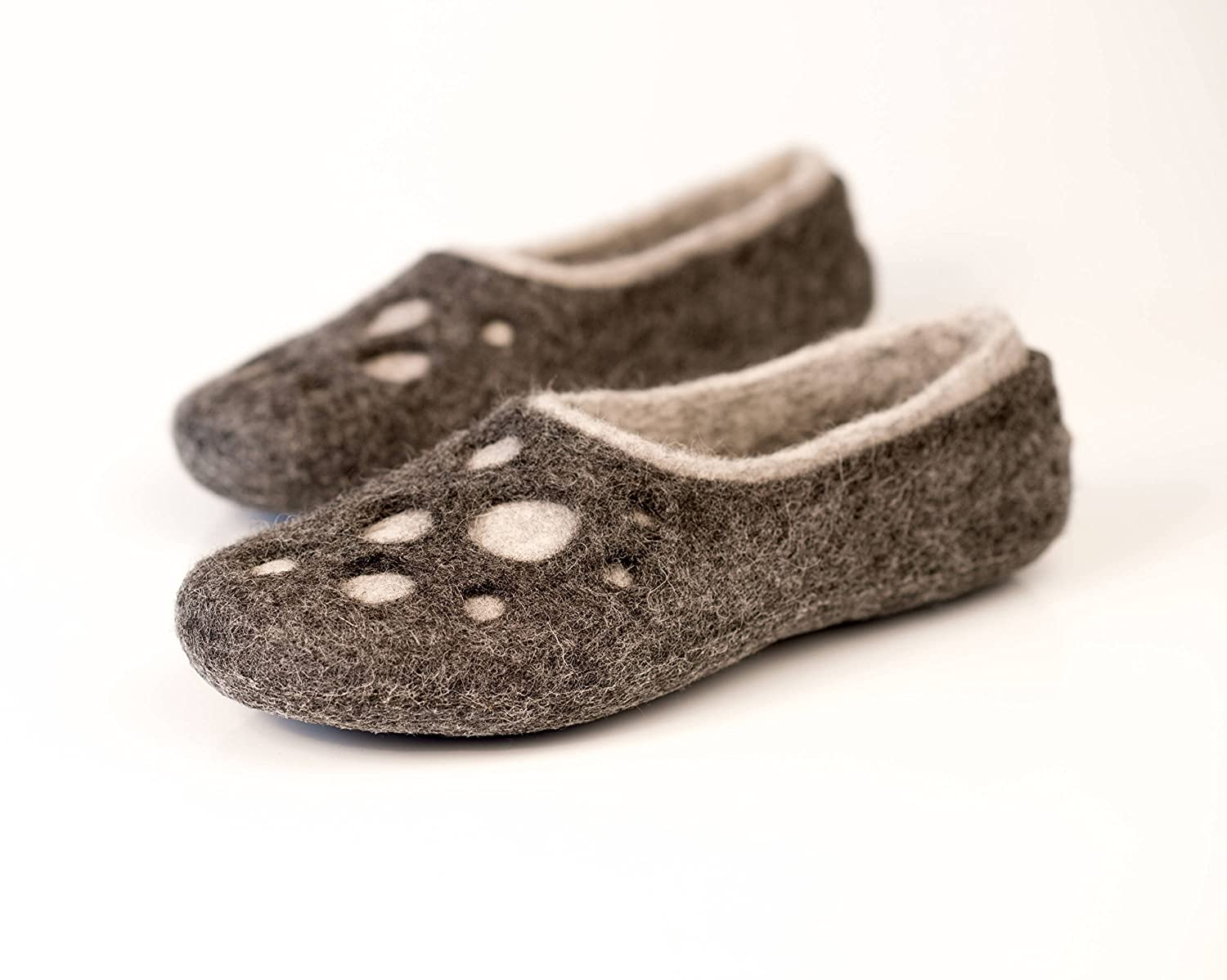 b747cd22d01dd Moon Craters grey felted wool slippers for women, Handmade warm home ...
