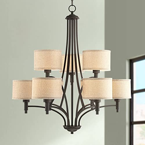 La Pointe Oil Rubbed Bronze Chandelier 30 1 2 Wide Industrial Linen Shade 9-Light Fixture for Dining Room House Foyer Kitchen Island Entryway Bedroom Living Room – Franklin Iron Works