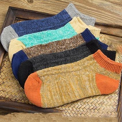 Calcetines de lana Calcetines de hombre 5 pares de hombres Calcetines japoneses de punto retro de