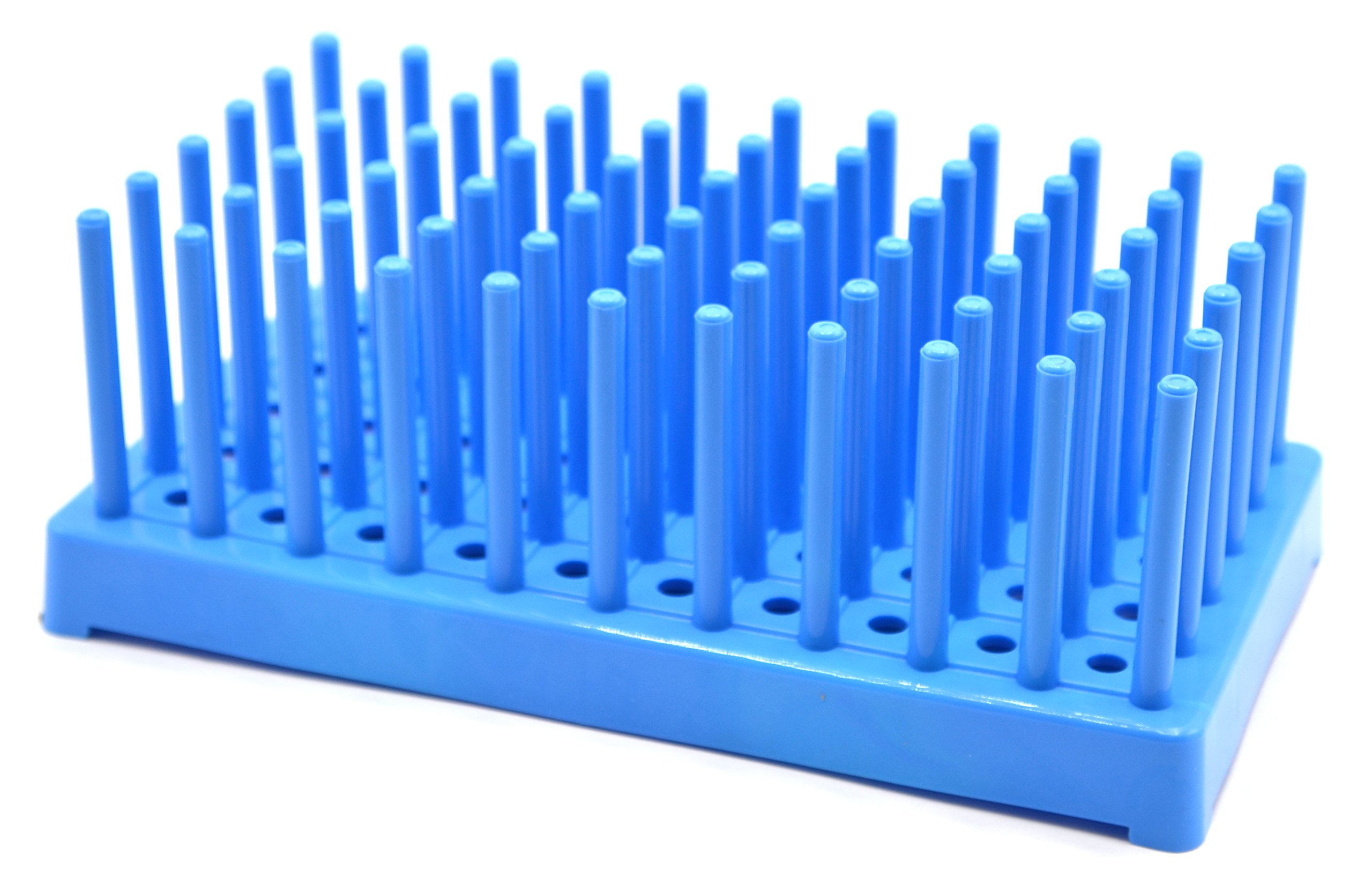 (Pack of 2) Blue Plastic Test Tube Peg Drying Rack Holds 50 16mm Test Tubes - Eisco Labs by EISCO