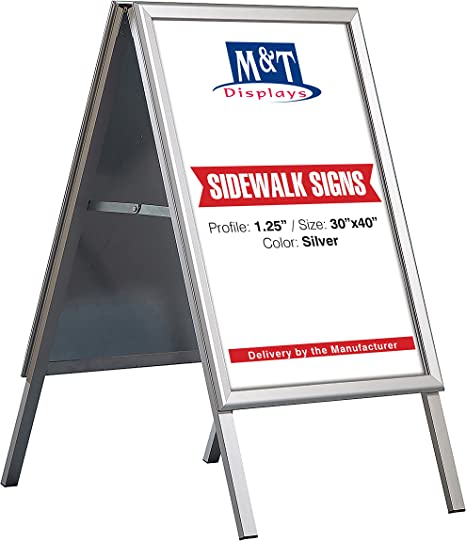 Rectangular Black Iron 20x 30 M/&T Displays Double Sided A Frame Poster Menu Sidewalk Display Board Mill Bolted Tray with Magnetic Cover with Header
