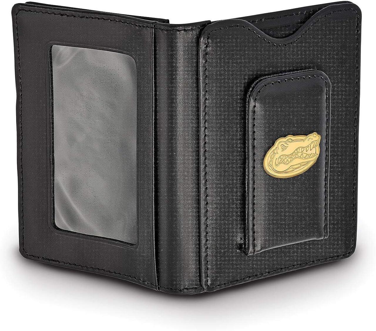 Lex /& Lu LogoArt Sterling Silver w//GP University of Florida Black Leather Wallet LAL139757