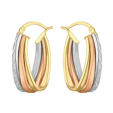 Adara 9 ct Gold Three-Colour Creole Earrings gpT33euOB