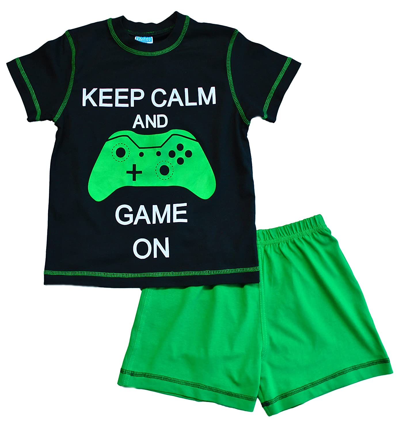 "ThePyjamafactory, pigiama corto per bambini con scritta ""Keep Calm and Game on"", si illumina al buio"