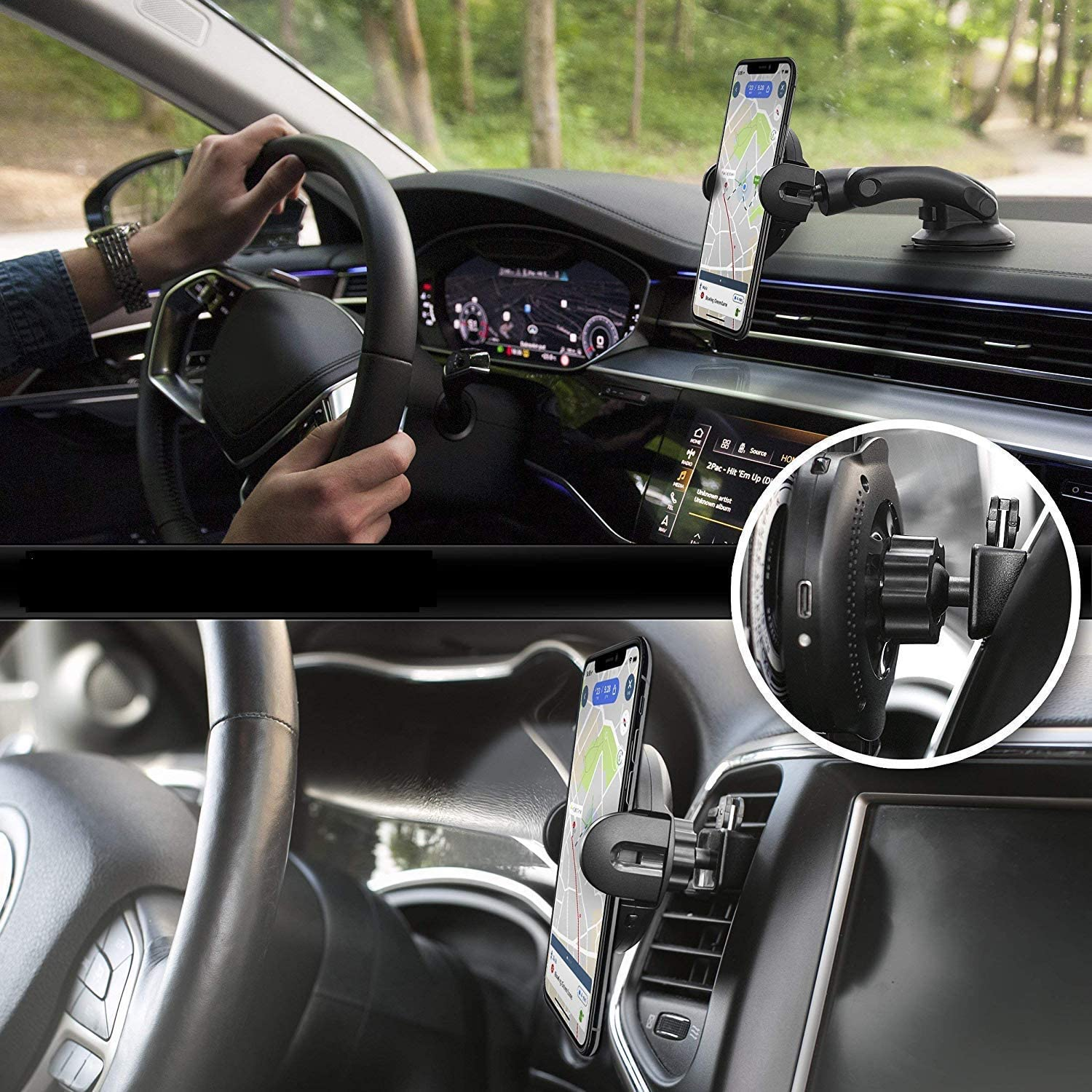 Samsung Galaxy Note 9//S9//S9+//S8//S8+ Wireless Car Charger DoSHIn Automatic Qi Car Mount 15W//10W//7.5W Fast Charging Car Phone Holder Air Vent /& Dashboard Compatible with iPhone Xs//Xs Max//XR//X//8//8 Plus