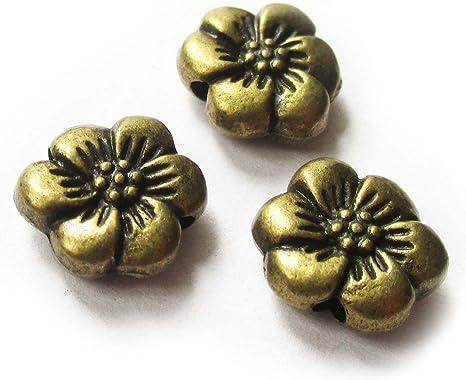 Huge Lot of 300 Assorted 7mm Flat Flower Antique Pewter Rondelle Spacer Beads