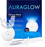 AuraGlow Teeth Whitening Kit, LED Light, 35% Carbamide Peroxide, (2) 5ml Gel Syringes, Tray and Case-Best-Popular-Product