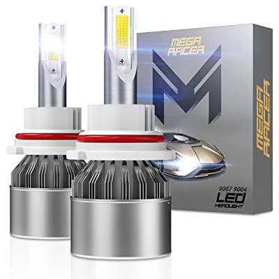 Mega Racer 9007 LED Headlight Bulb CREE COB C6 HB5 9007 LED Headlights LED H7 Headlight Bulbs High Beam Low Beam 6000k Ultra Bright White 80W 8000 Lumens Halogen Replacement 9007 Bulb: Automotive