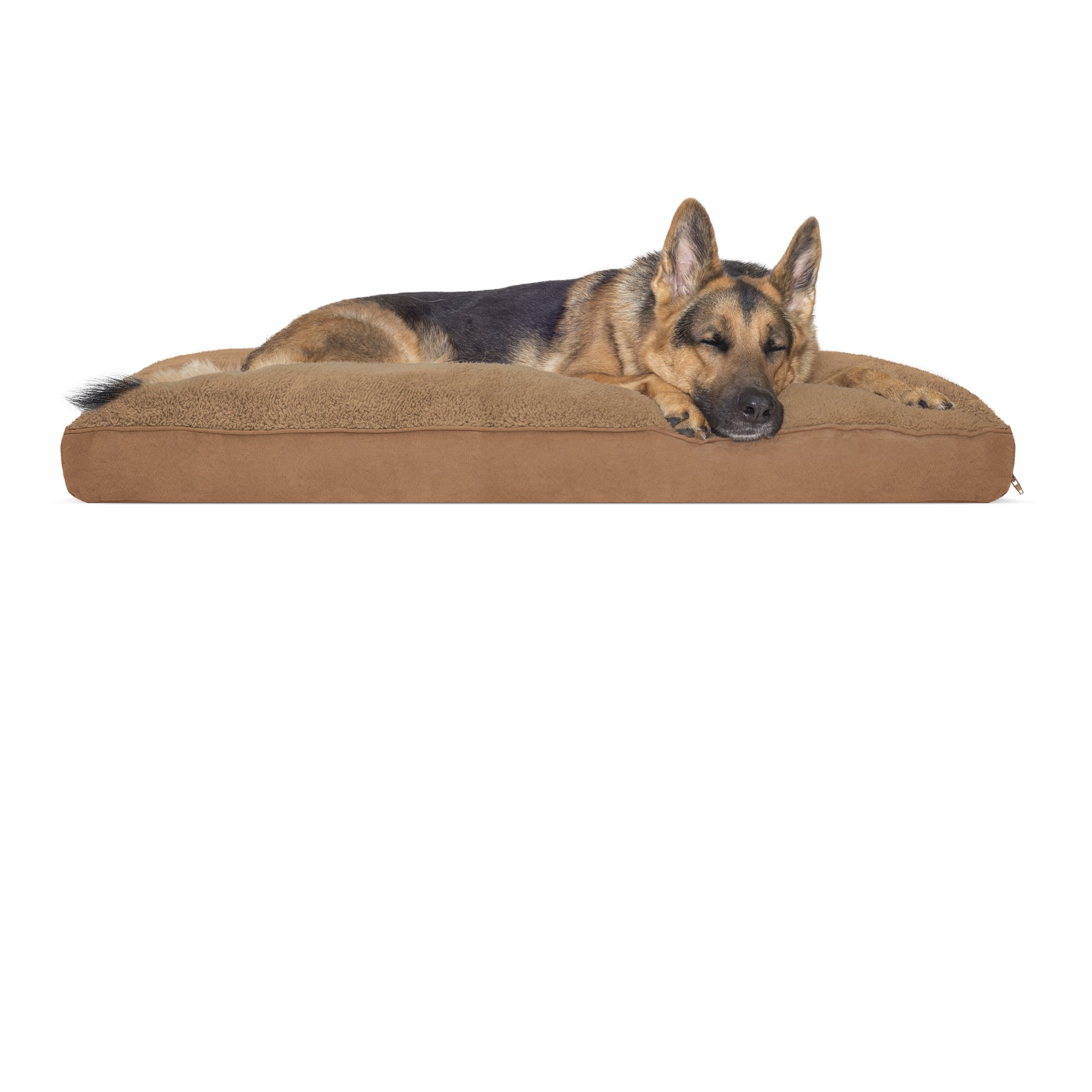 FurHaven Pet Dog Bed | Deluxe Terry & Suede Snuggle Pillow Pet Bed for Dogs & Cats, Camel, Jumbo