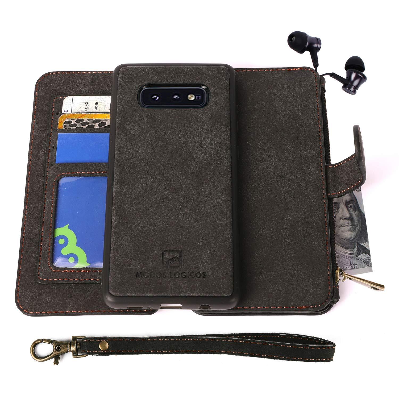 MODOS LOGICOS for Samsung Galaxy S10E Case, [Detachable Wallet Folio][2 in 1][Zipper Cash Storage][Up to 14 Card Slots 1…