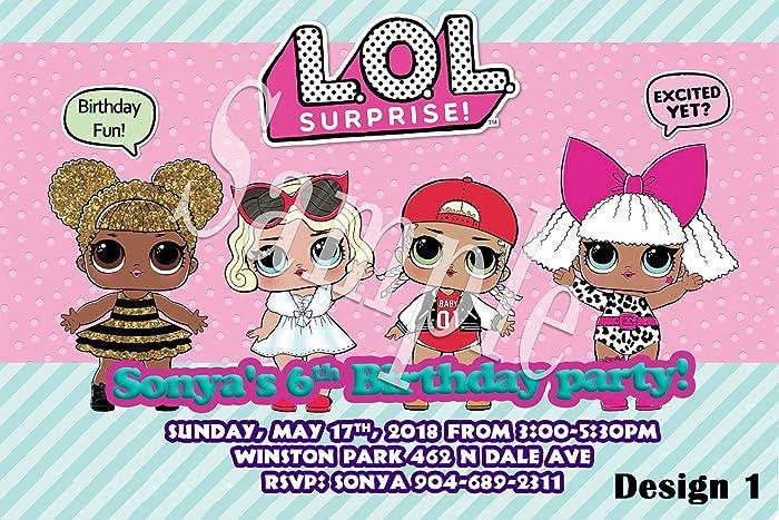 Amazon Com Lol Surprise Dolls Personalized Birthday Invitations