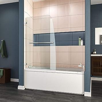 Elegant Frameless Hinged Bathtub Shower Door Bathtub Swing Pivot Glass Panel 34 In W X 58 In H 5 16 In Chrome Finish Amazon Com
